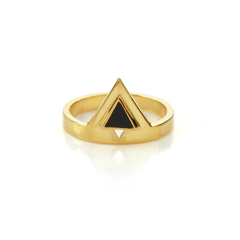 Octa Onyx Ring Gold