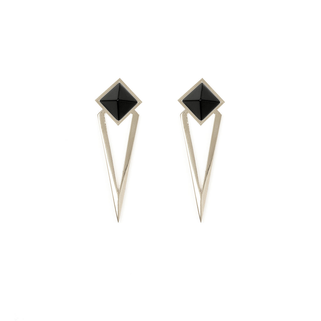 Octa Spike Earrings Silver