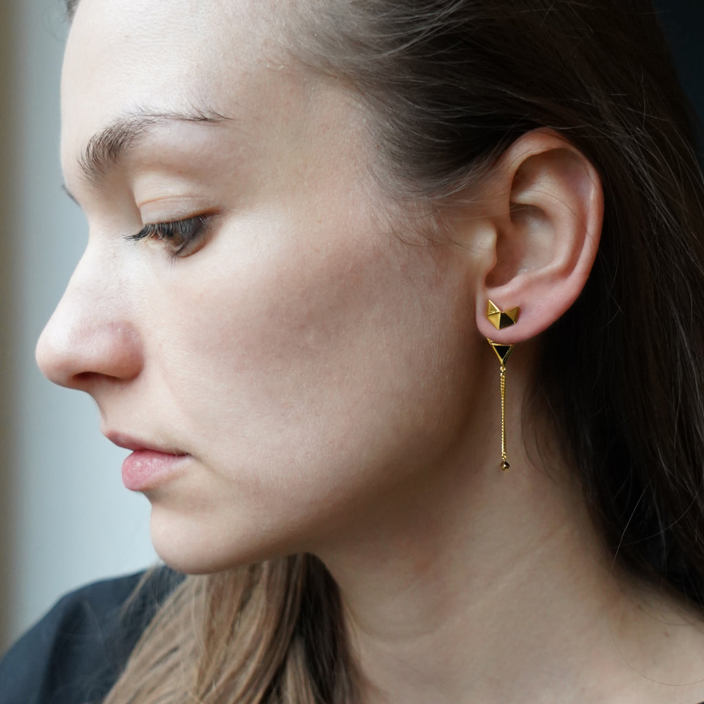 Octa Asymmetric Earrings Gold