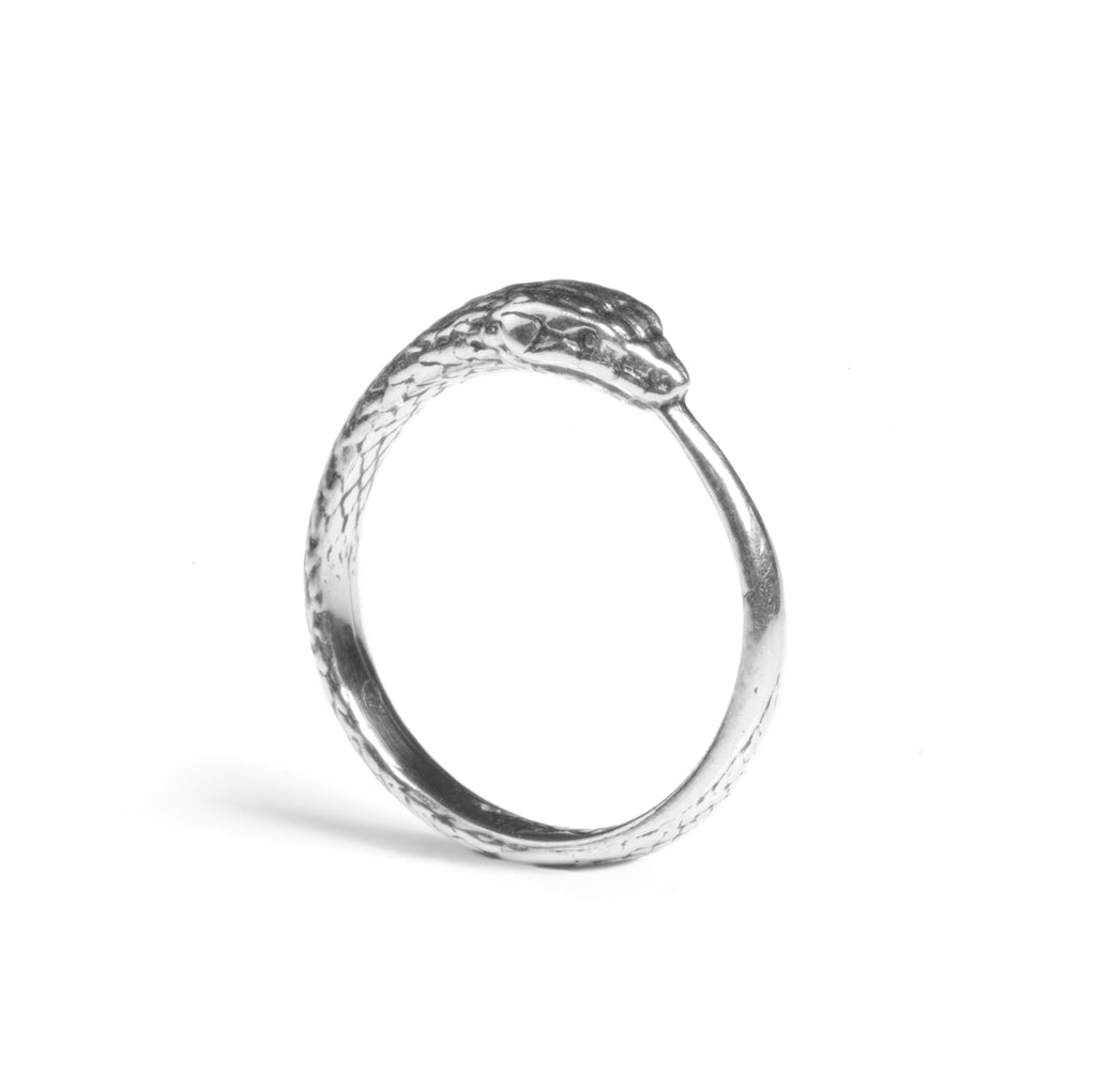 Solid White Gold Ouroboros Snake Ring