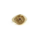The Ouroboros Signet Ring Gold with Ruby