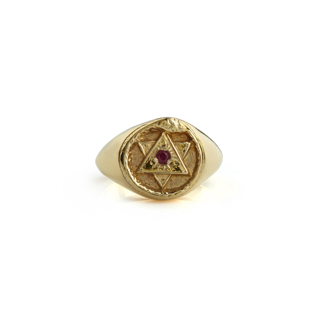 Solid Gold Ouroboros Signet Ring with Ruby