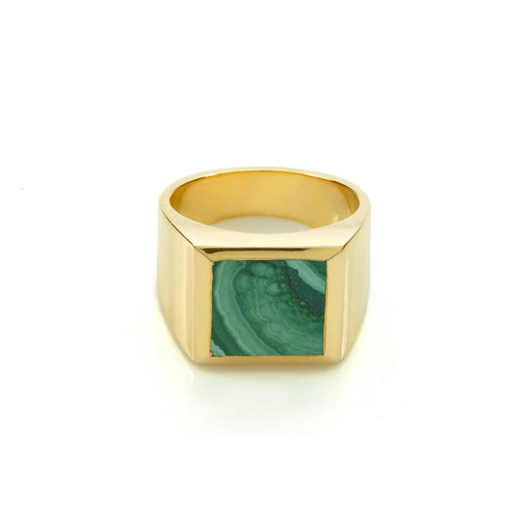 Plato Malachite Ring Gold