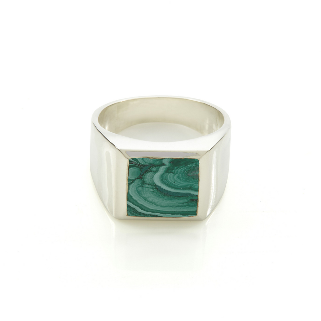 Plato Malachite Ring Silver