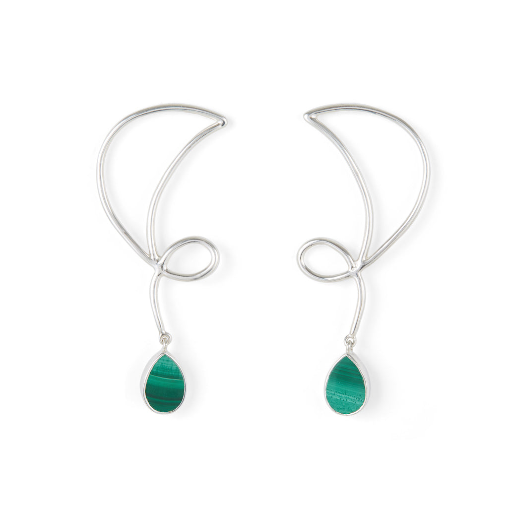 Memory Earrings Silver with Black Onyx / Malachite
