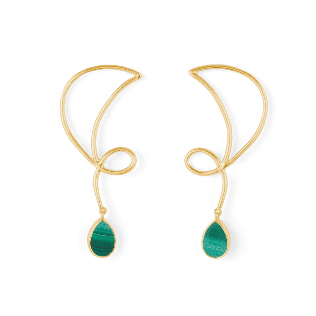 Memory Earrings Gold with Black Onyx / Malachite