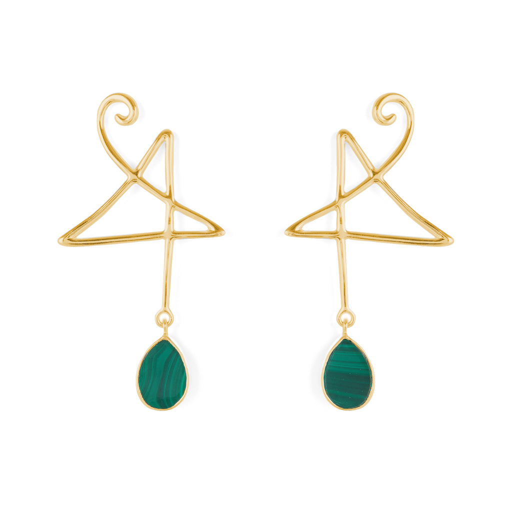 Mischief Earrings Gold with Black Onyx / Malachite