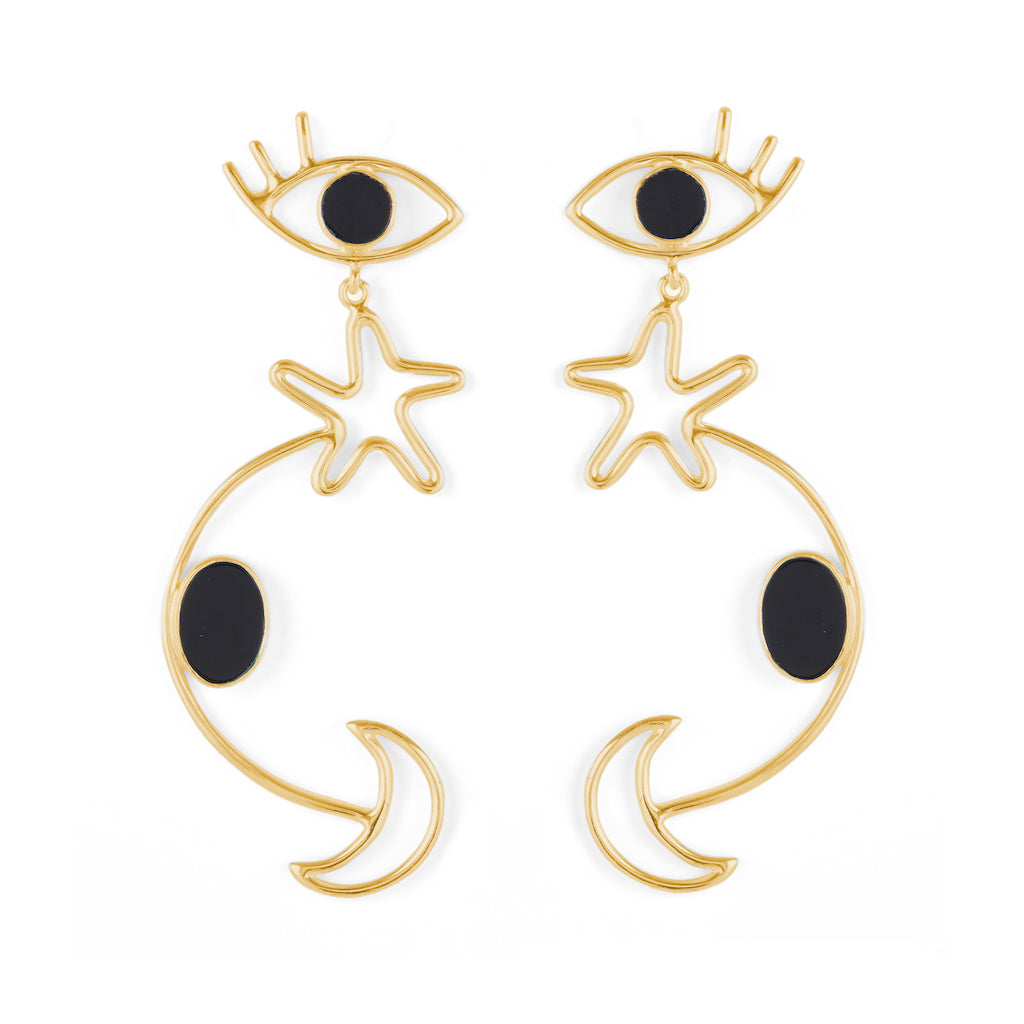 Seeker Earrings Gold with Black Onyx / Malachite