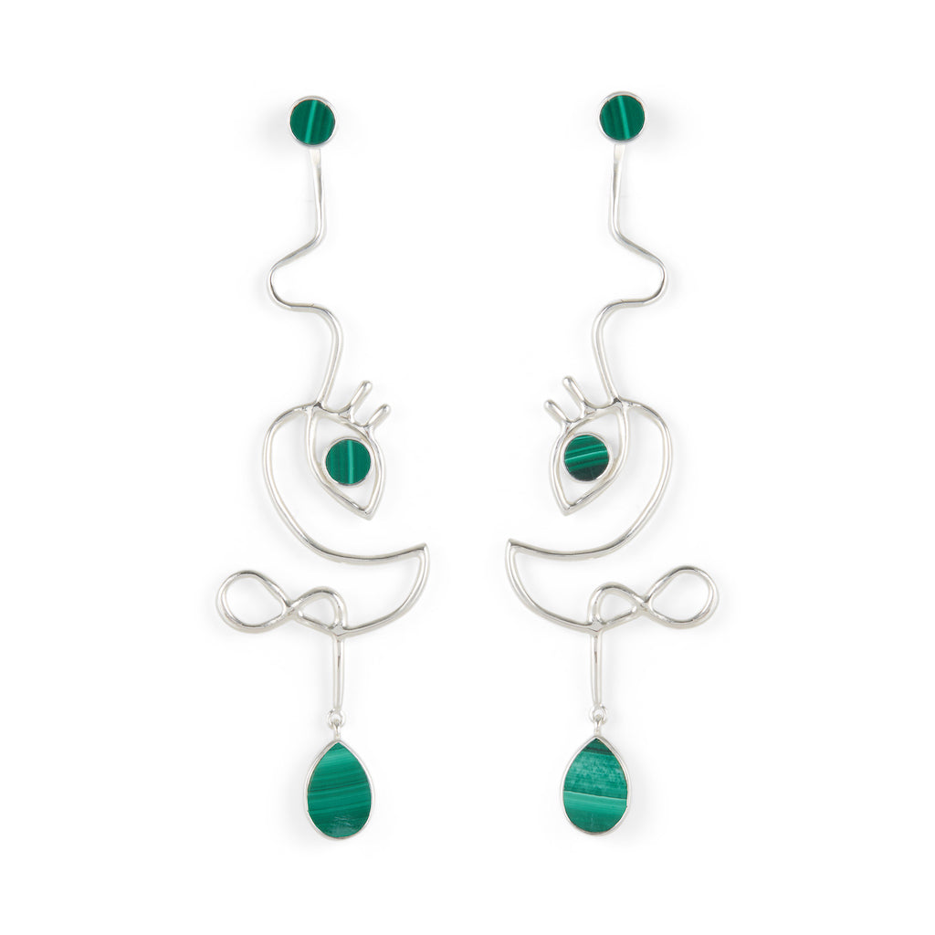 Dancer Earrings Silver with Malachite