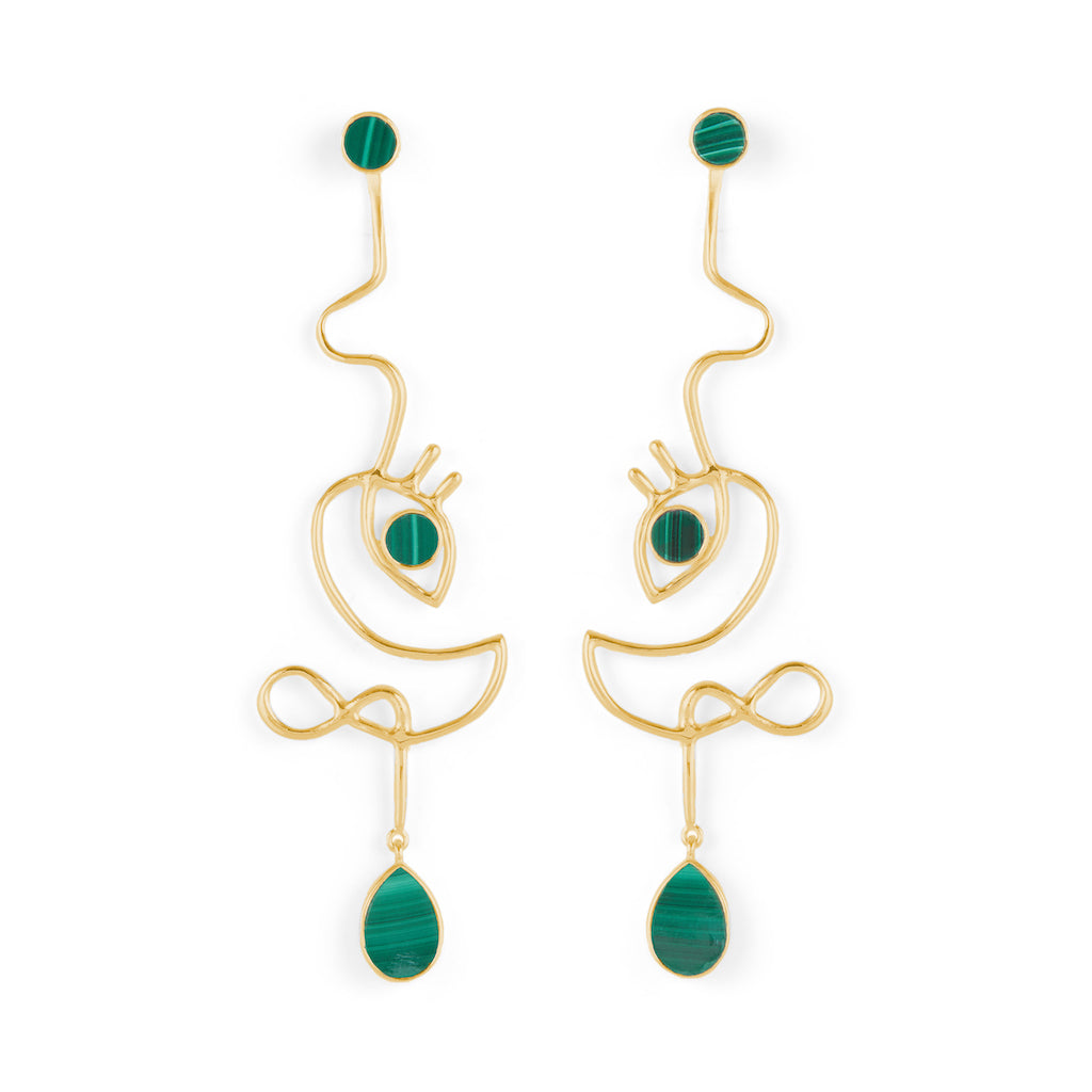 Dancer Earrings Gold with Malachite