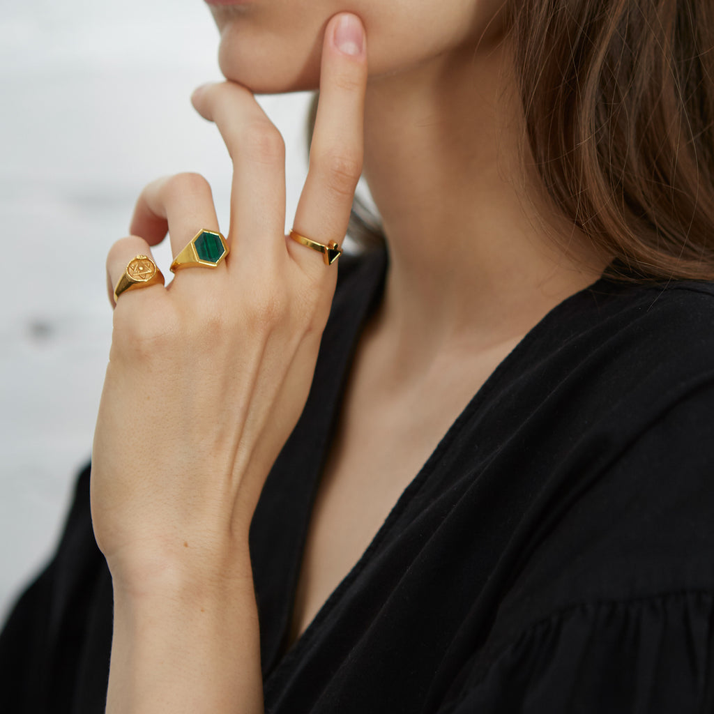 Varro Malachite Ring Gold