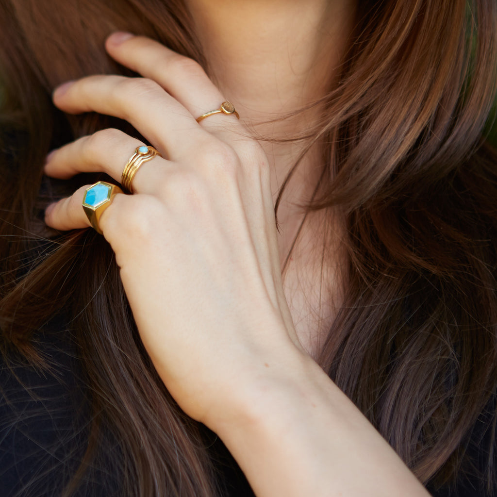 Varro Turquoise Ring Gold
