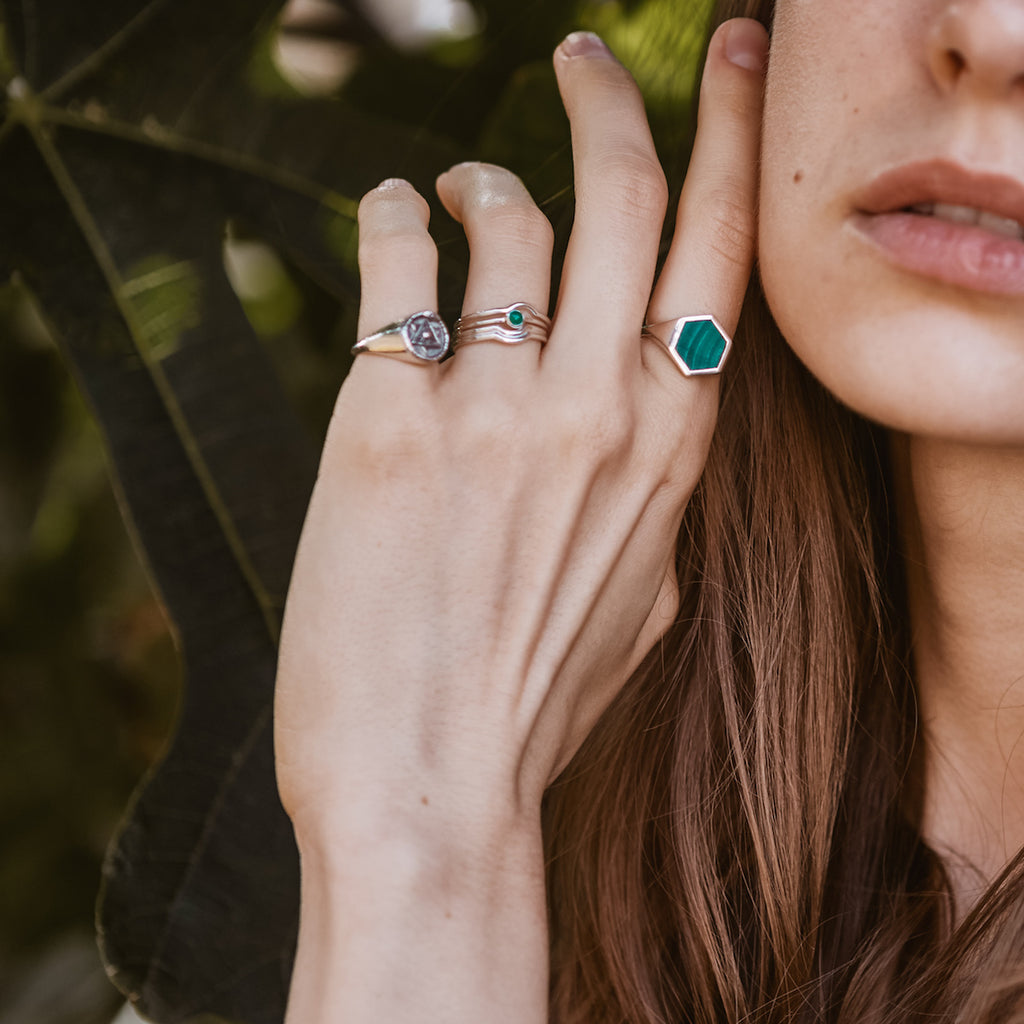 Celestial Stacking Ring Set Silver Green Onyx / Black Onyx