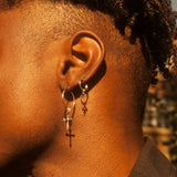 Cross Hoop Earrings Silver