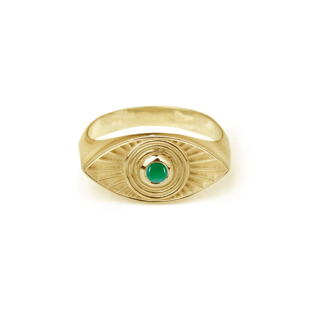 Solid Gold Rays Of Light Ring Turquoise / Green Onyx Stone