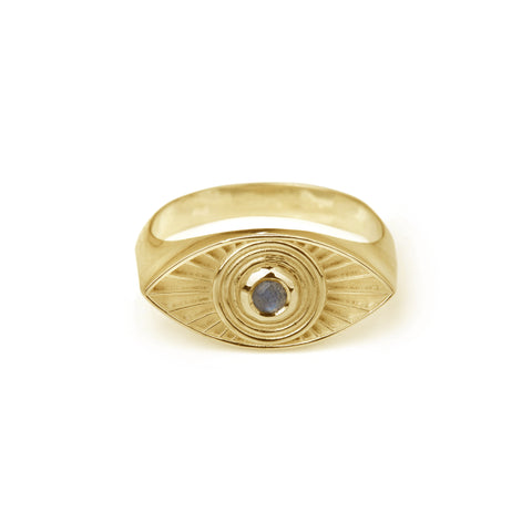 Rays Of Light Ring Gold - Labradorite / Turquoise
