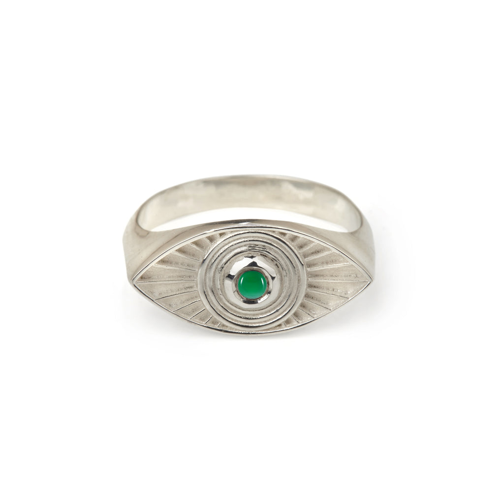 Rays Of Light Ring - Green Onyx