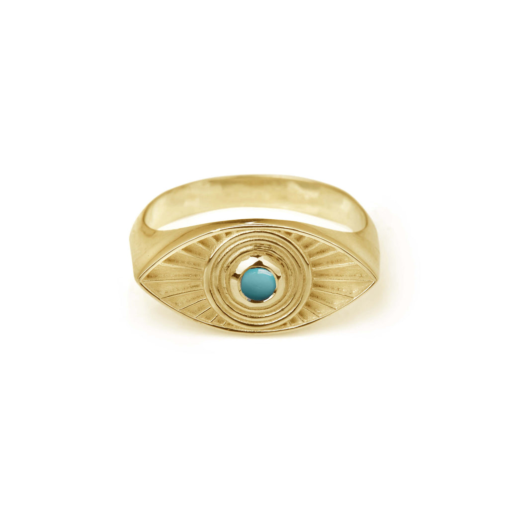 Rays Of Light Ring Gold - Turquoise