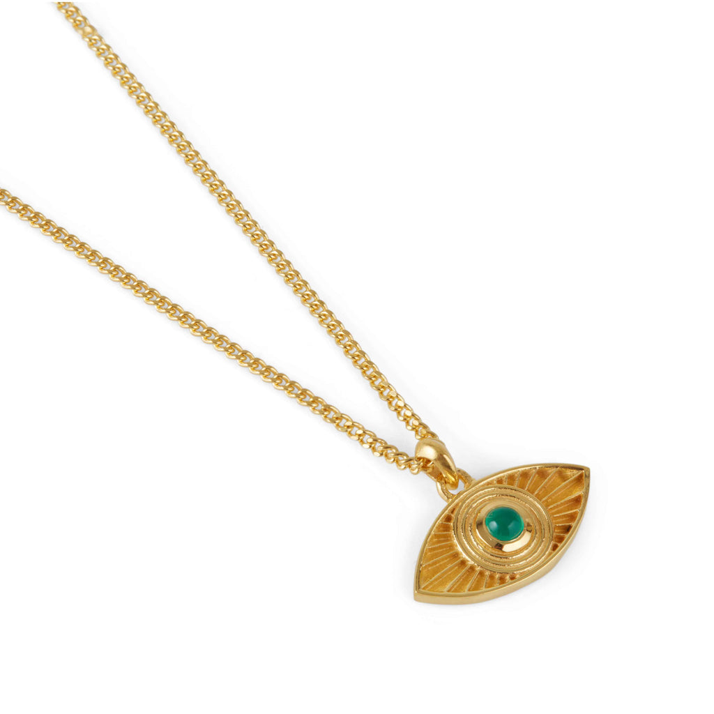 Rays of Light Pendant Gold - Green Onyx