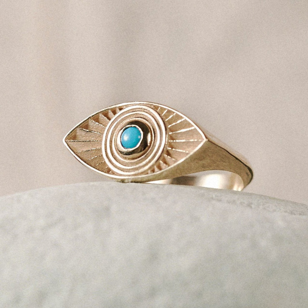 Solid Gold Rays Of Light Ring with Turquoise Stone