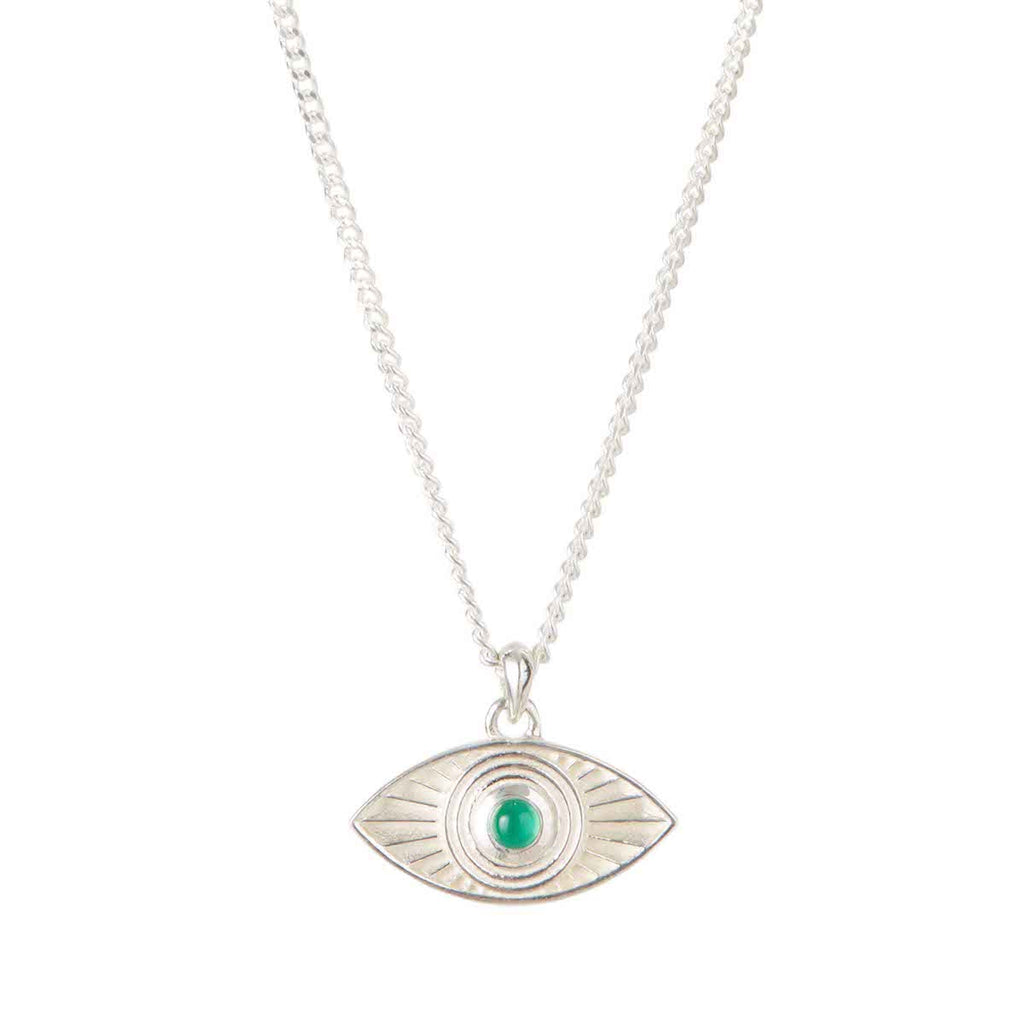 Rays of Light Pendant Silver - Green Onyx