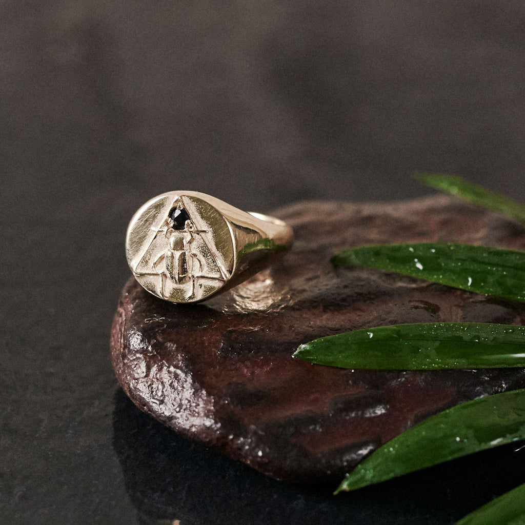 Solid Gold Scarab Signet Ring with Sapphire