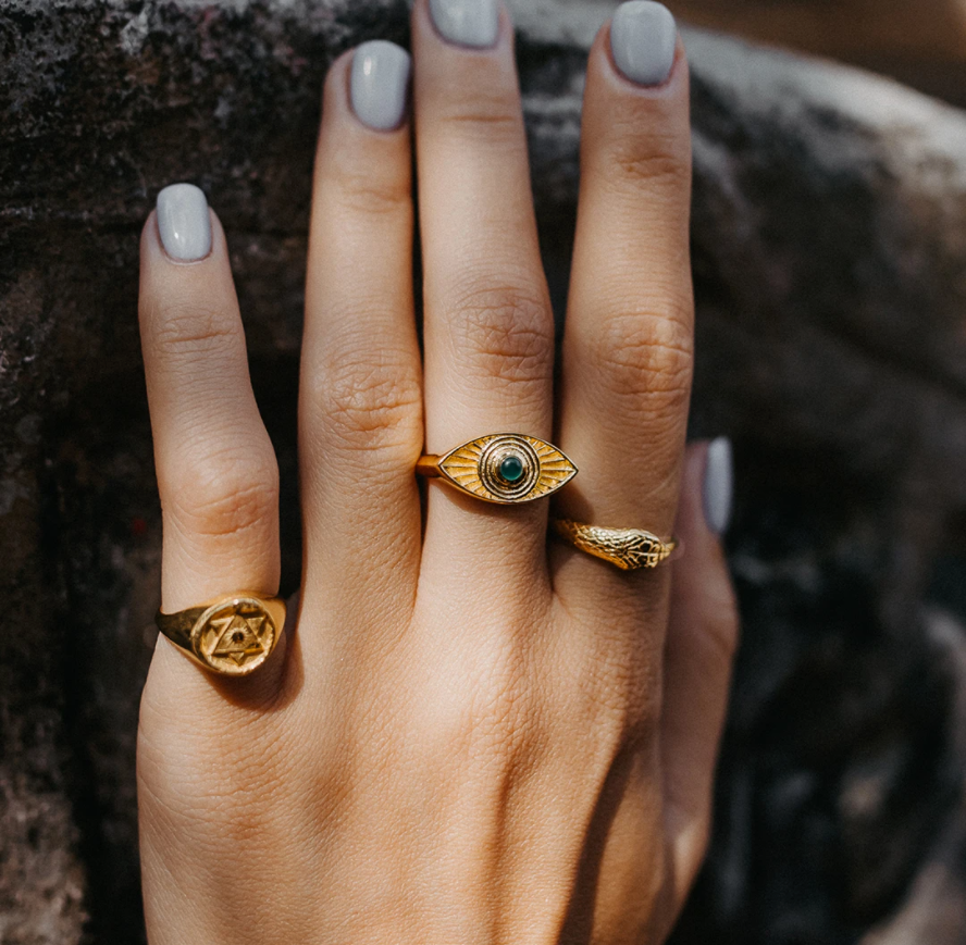 Solid Gold Ouroboros Snake Ring with Sapphires