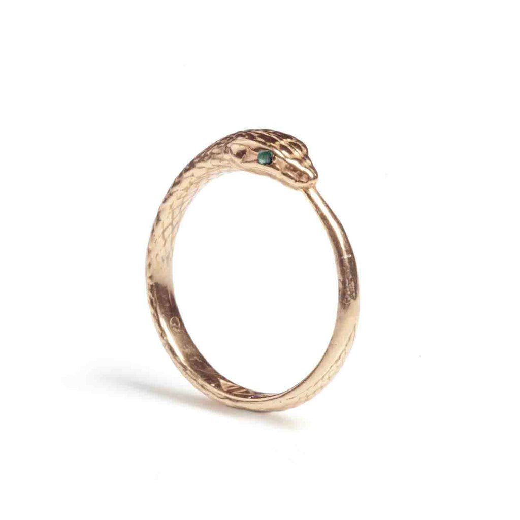 Solid Gold Ouroboros Snake Ring with Emeralds