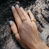 Sun Moon Four Elements Rings Set Gold