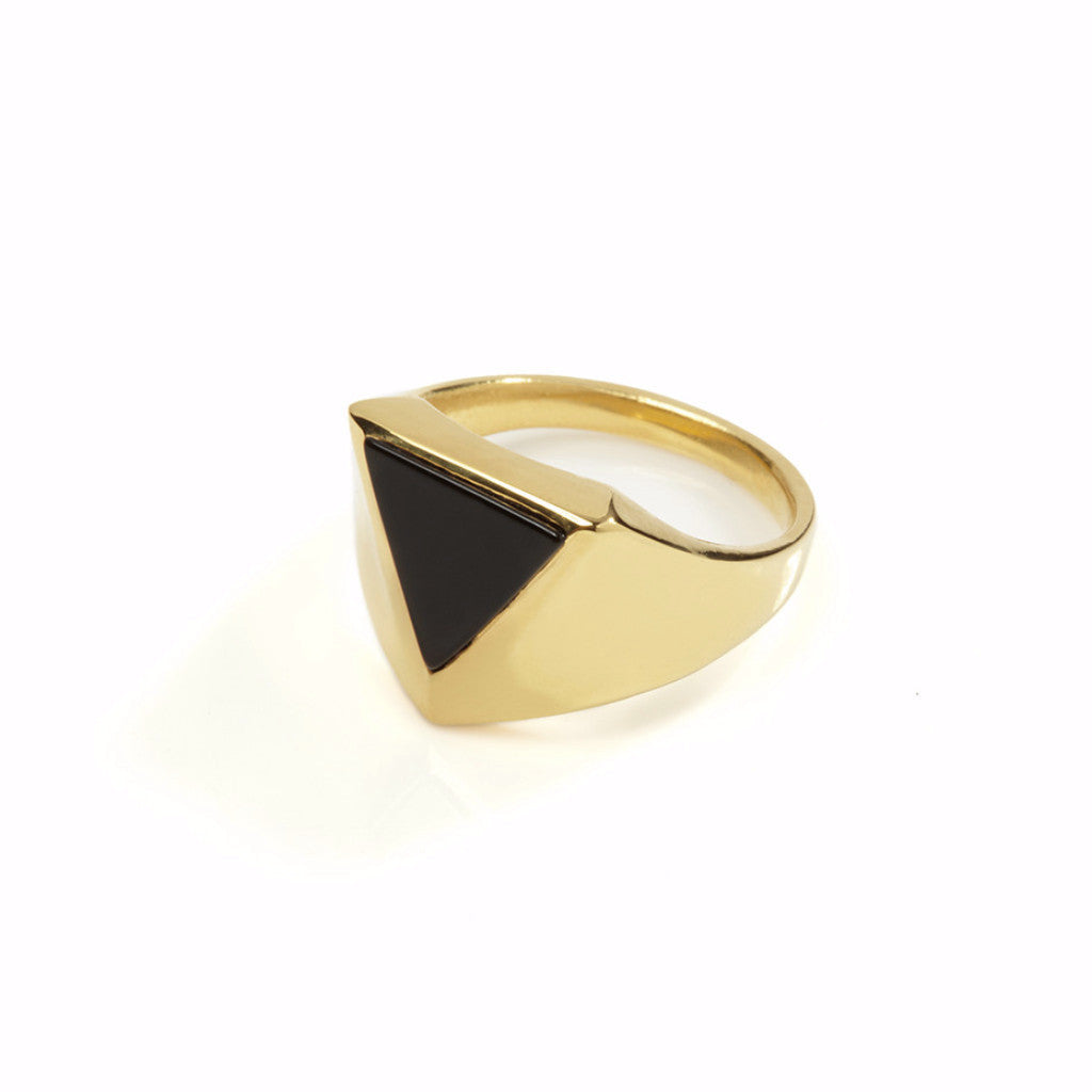Pythagorus Onyx Ring Gold