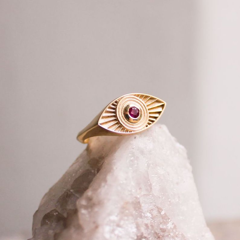 Solid Gold Rays Of Light Ring with Ruby Stone