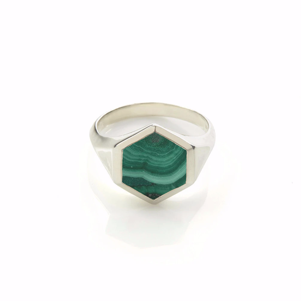 Varro Malachite Ring Silver