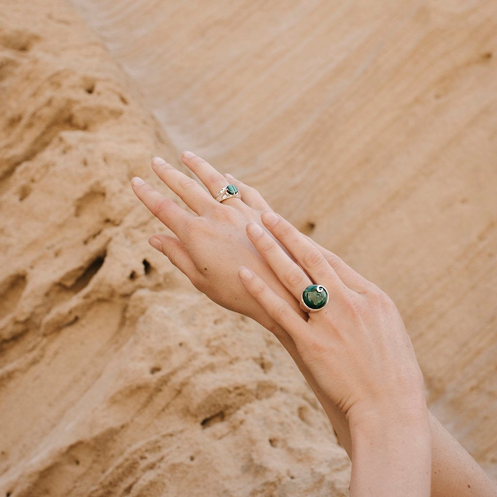 Atlantis Malachite Ring Silver