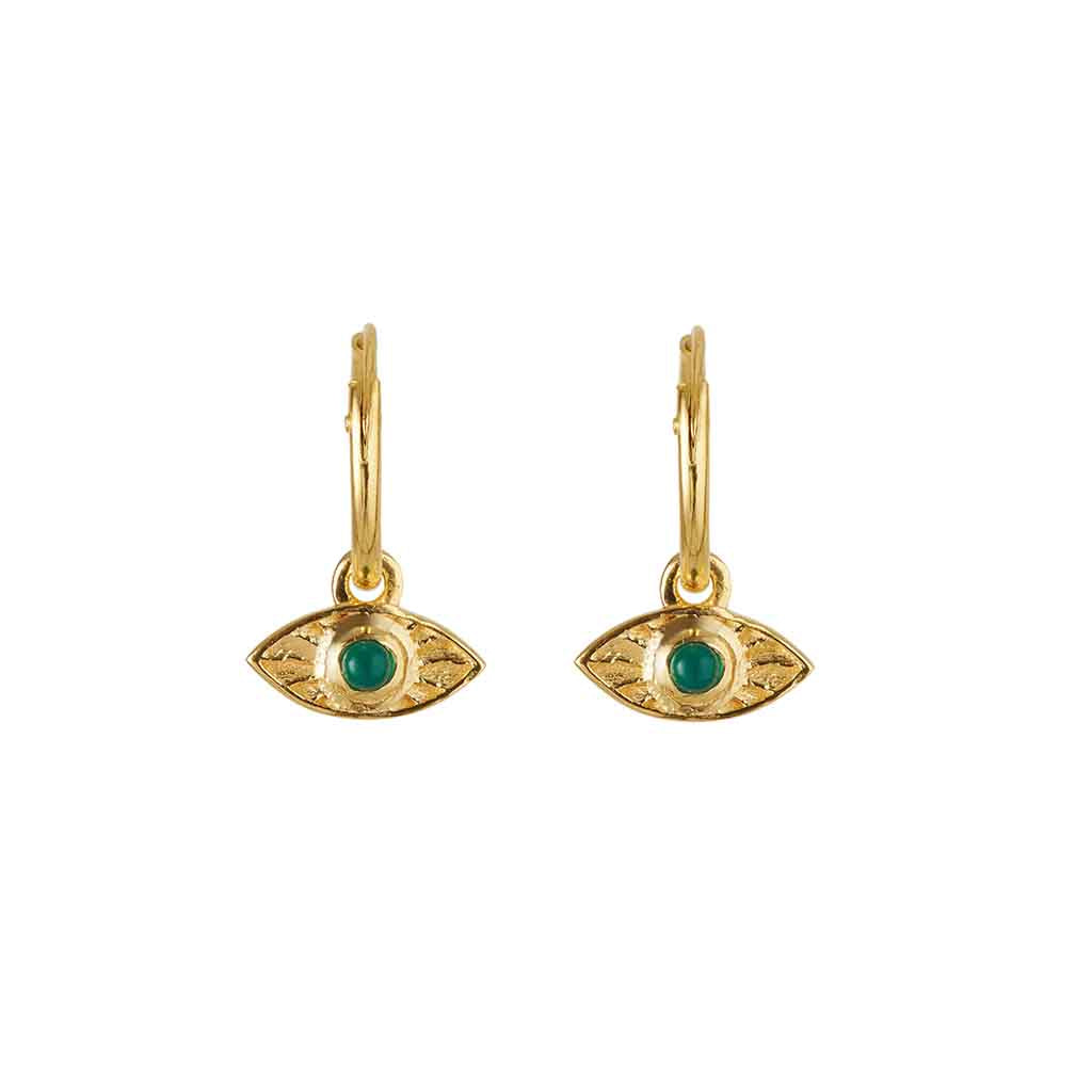 Rays Of Light Mini Hoops Gold - Green Onyx
