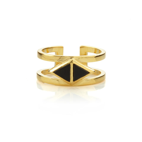Octa Onyx Double Ring Gold