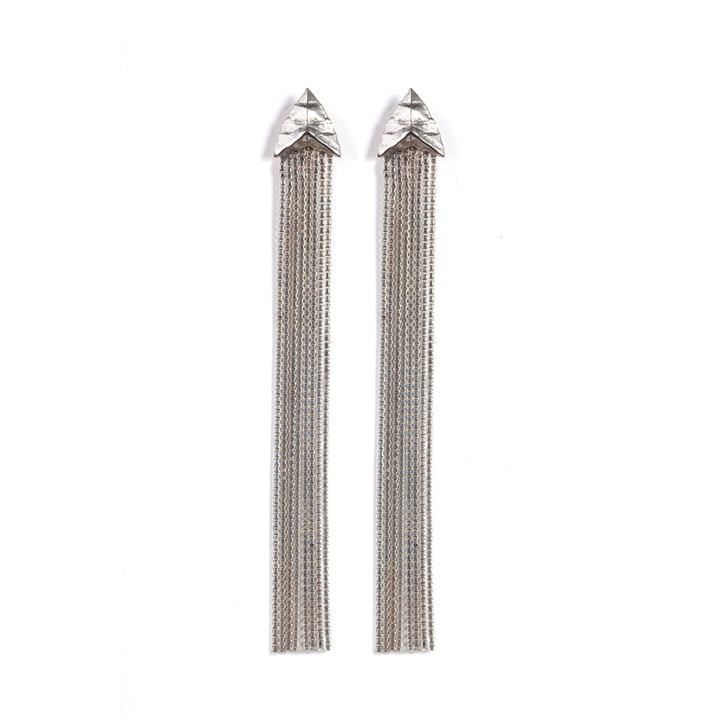 Modern Primitive Drape Chain Earrings Silver