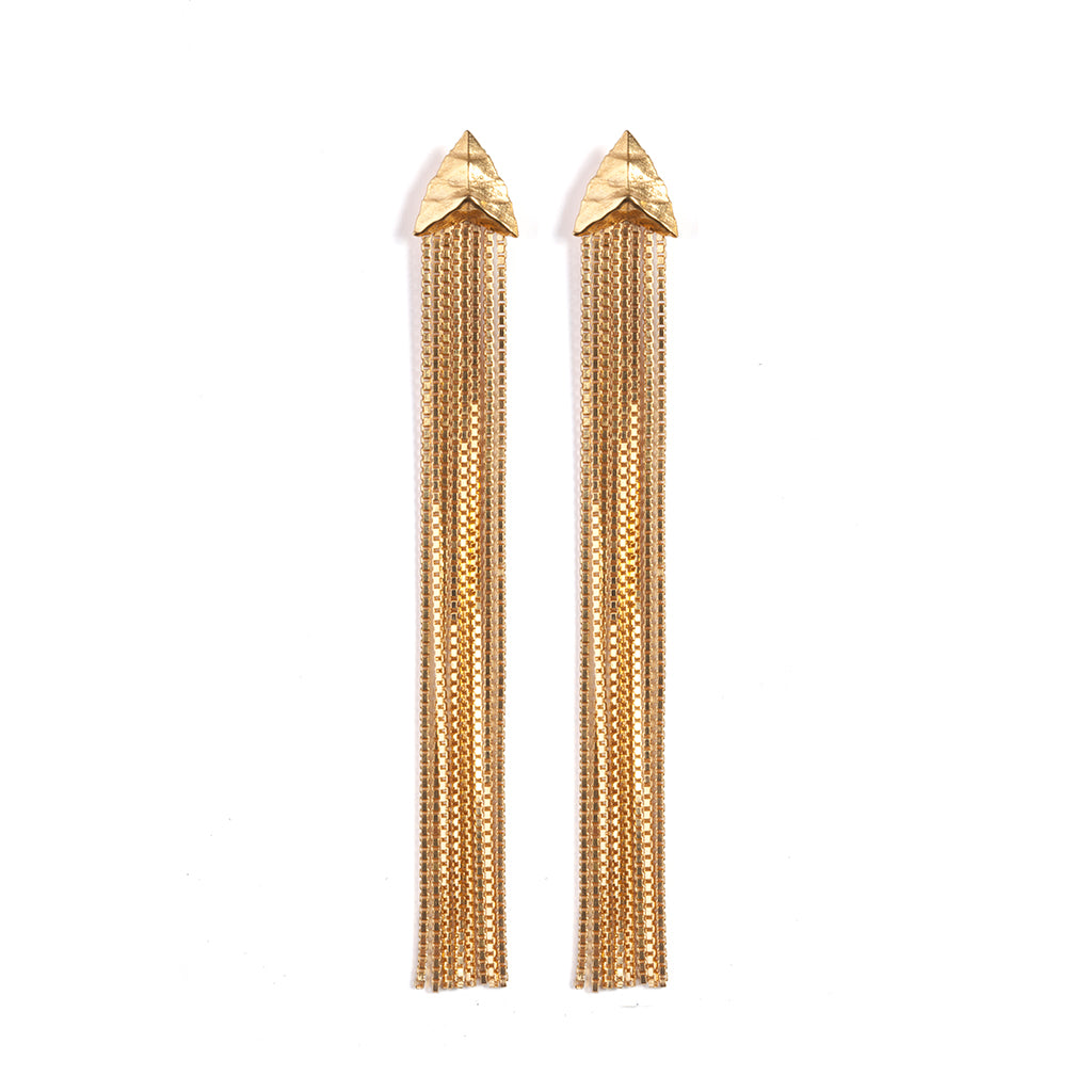 Modern Primitive Drape Chain Earrings Gold