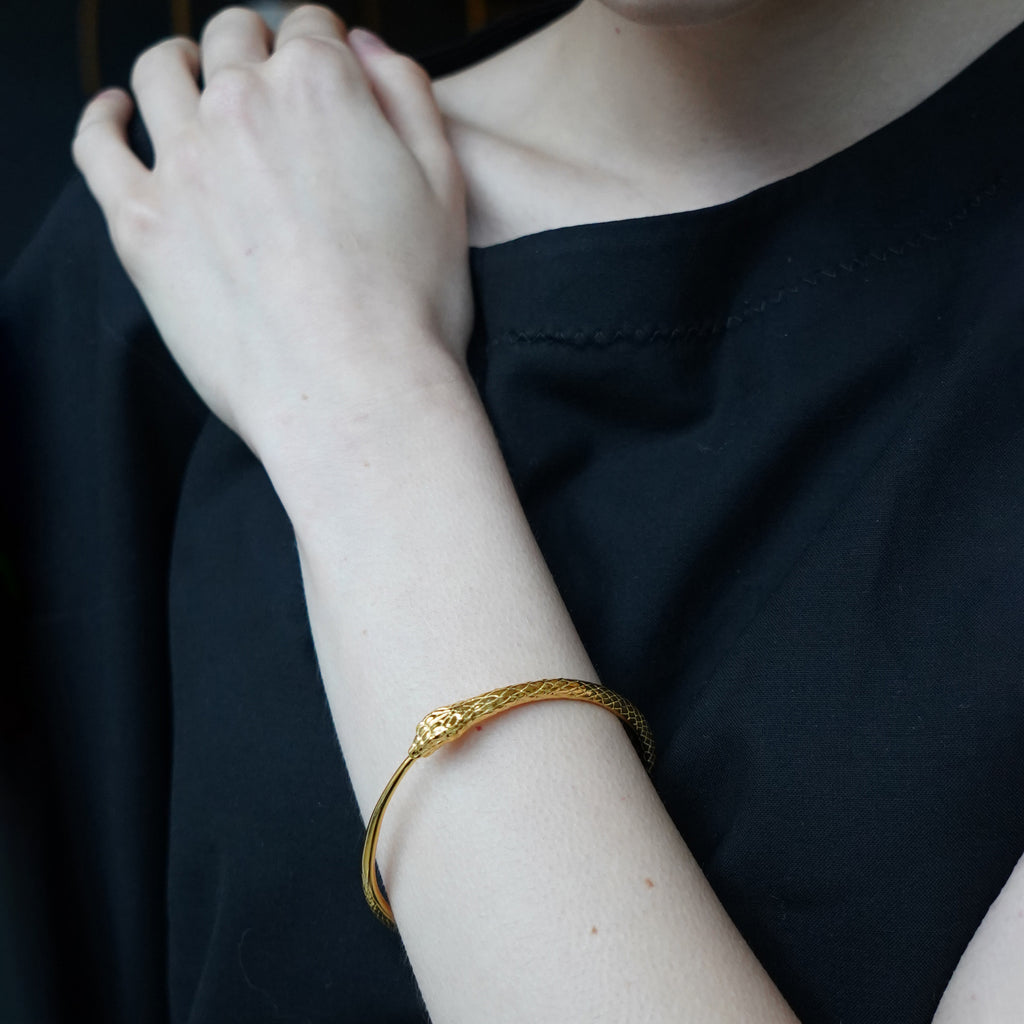 Ouroboros Snake Bangle Gold