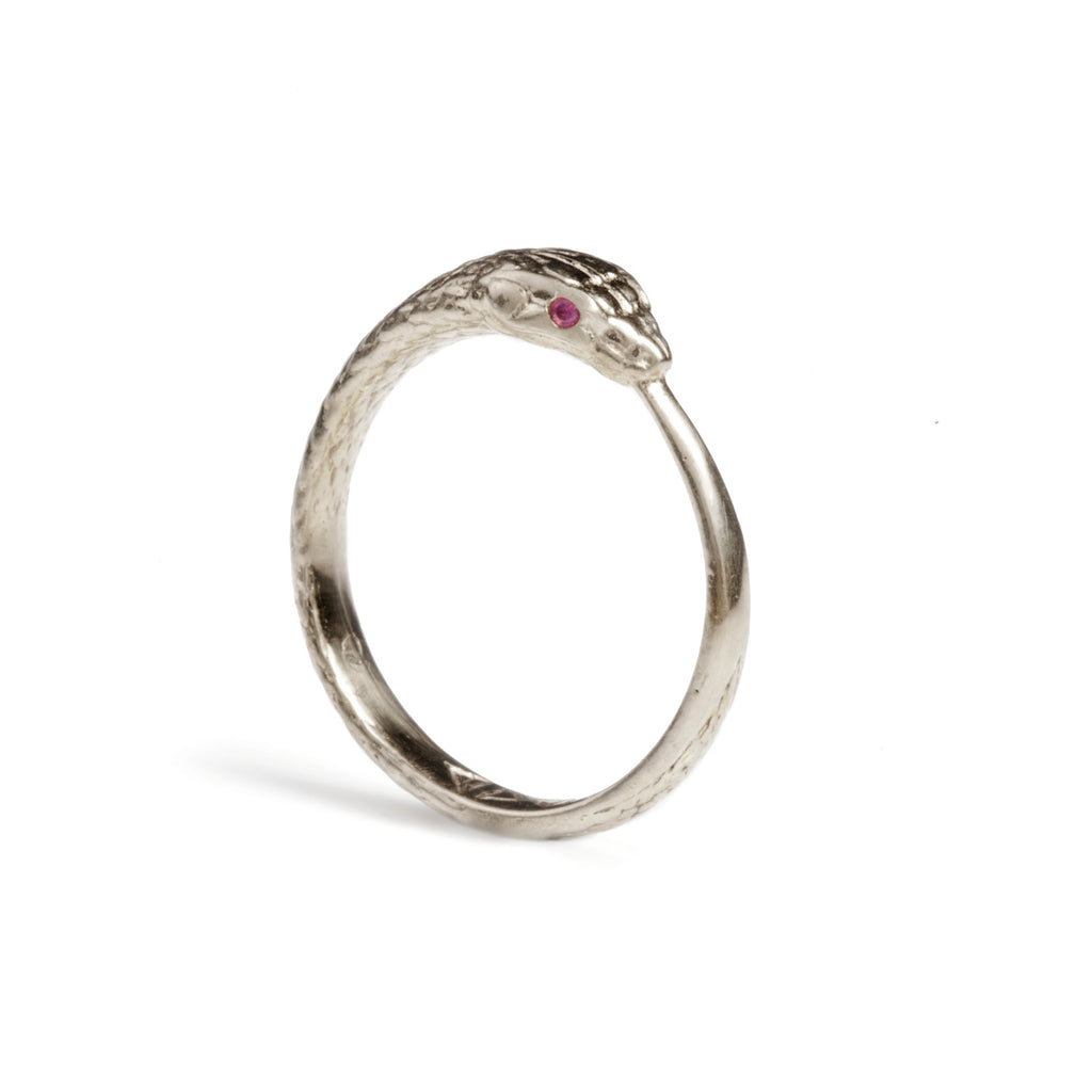 Ouroboros Snake Ring Silver with Rubies