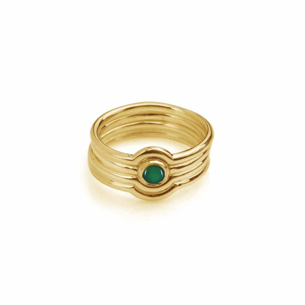 Celestial Stacking Ring Set Gold - Green Onyx / Black Onyx / Turquoise