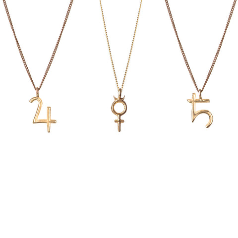 Seven Planetary Metals - Mercury, Saturn and Jupiter Pendant - Gold