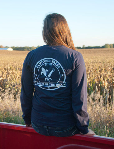 Women's Born In The USA Long Sleeve - Navy