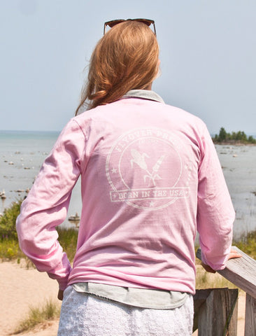 Women's Born In The USA Long Sleeve - Pink