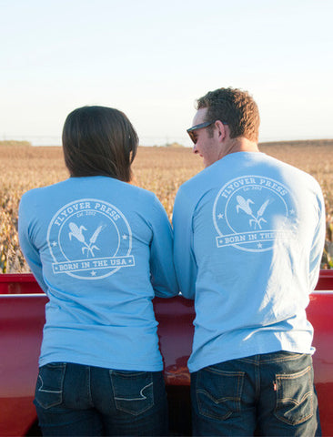 Women's Born In The USA Long Sleeve - Sky Blue