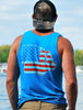 Men's Patriotic Midwest Tank Top - Neon Blue