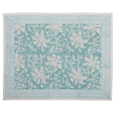 Hand block-printed table mat -  Mint Green