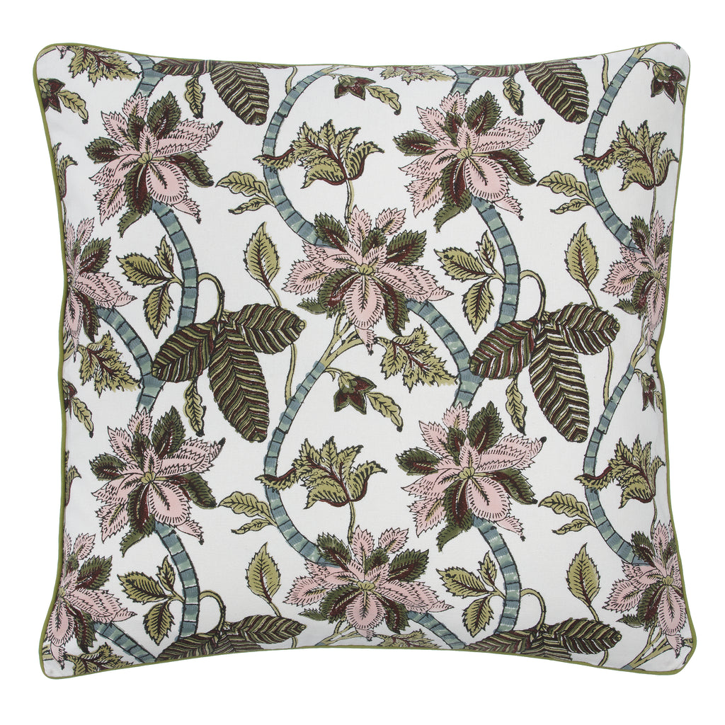 Green Chintz Cotton Cushion Cover by Bungalow Denmark