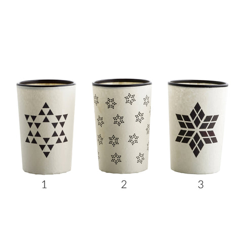 Black on White Paper Covered Glass Votives by Tine K  Home