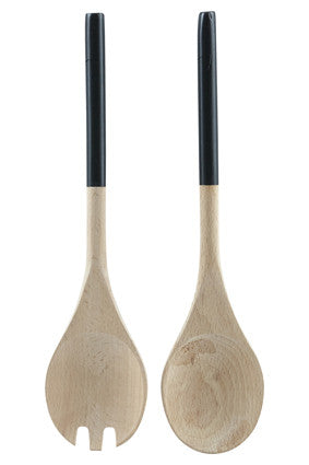 Beech Salad Servers with black handles by House Doctor