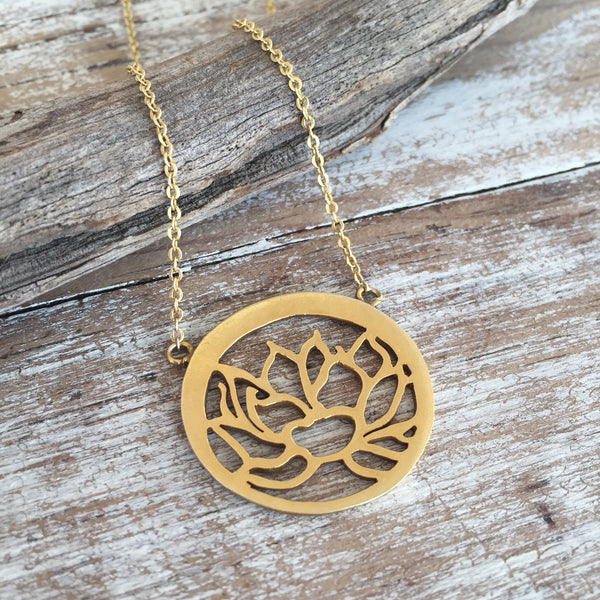 ** ONLY 1 LEFT ** Circle Lotus Gold Necklace
